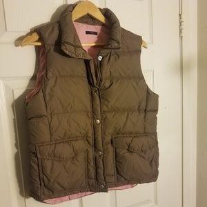 J Crew Puffer Vest Brown Pink Zippered women